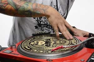 Image of a DJ with a DJ Slipmat